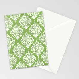 Green Damask Stationery Cards