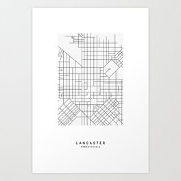 Lancaster, PA Simple Map Art Print