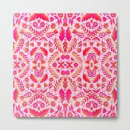 Folk Art Flowers Pattern - Red and Pink Metal Print