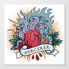 Sorcerer - Vintage D&D Tattoos Canvas Print