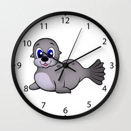 Cute baby seal cartoon Wall Clock