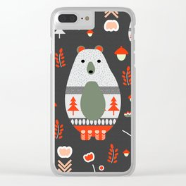 Christmas bears and birds Clear iPhone Case