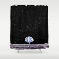 louis armstrong Shower Curtains featuring Neil Armstrong by Enrico Barin Guarise