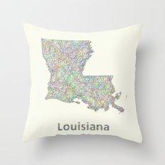 Louisiana map Throw Pillow