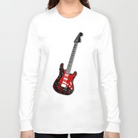 music notes Long Sleeve T-shirts featuring Music Notes Electric Guitar by GBC Design
