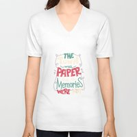 paper towns V-neck T-shirts featuring Paper Towns: Town and Memories by Risa Rodil