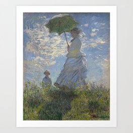 Art Woman with a Parasol Madame Monet and her son Claude Monet Art Print