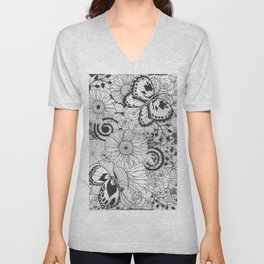 Flowers and butterflies Unisex V-Neck