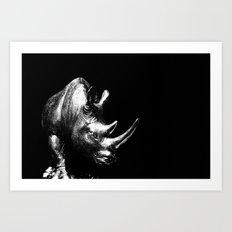 A Silver Rhino Art Print