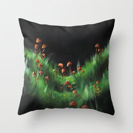 Meadow with Mushrooms and Moss: The Nude Throw Pillow