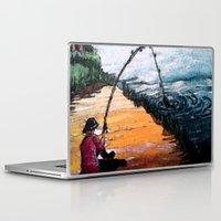 fishing Laptop & iPad Skins featuring FISHING by aztosaha