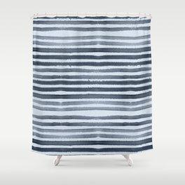 Simply Shibori Stripes Indigo Blue On Sky Blue Shower Curtain