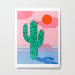 No Foolin - retro throwback neon art design minimal abstract cactus desert palm springs southwest  Metal Print