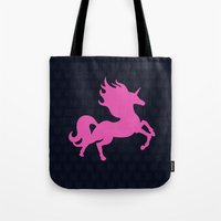 atheist Tote Bags featuring Visible Invisible Pink Unicorn by XOOXOO