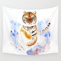 tiger Wall Tapestries featuring Tiger by Anna Shell