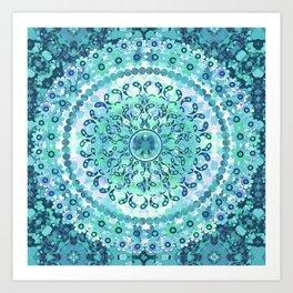 Aqua Mosaic Mandala Art Print