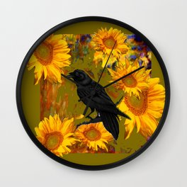 CROW & SUNFLOWERS KHAKI ART Wall Clock