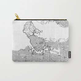 Vancouver City Map Canada White and Black Carry-All Pouch