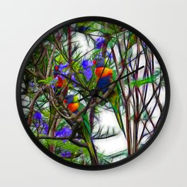 Abstract Beautiful Rainbow Lorikeets in a tree Wall Clock