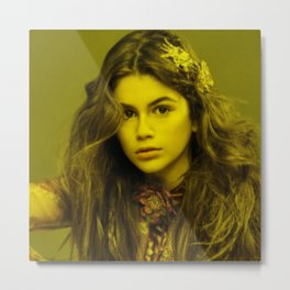 Kaya Gerber - Celebrity (Florescent Color Technique) Metal Print