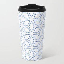 White and Blue Minimualist Pattern Travel Mug
