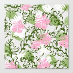 Tropical leaves with flowers and plants Canvas Print