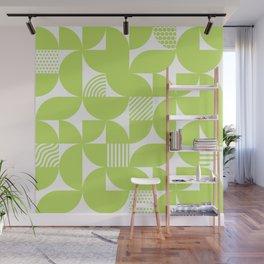 Lime Green Mid Century Bauhaus Semi Circle Pattern Wall Mural
