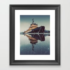 Reflecting Tugboat Framed Art Print