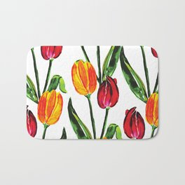 Easter Spring Floral Tulips, Red Yellow Green Watercolor Bath Mat