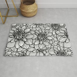 Dahlia in black and white Rug