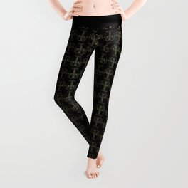 Tribal Camouflage Spiny Lobster on Black Leggings