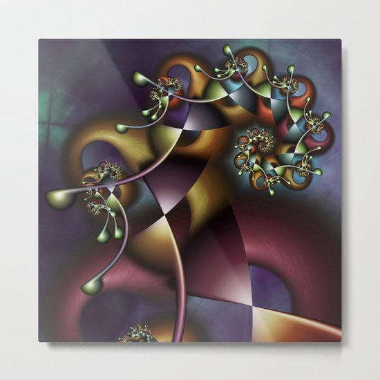 The Joker Multicolored Fractal Spiral Metal Print