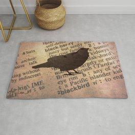 Rustic Blackbird Bird Silhouette Dictionary Home Decor Art A627 Rug