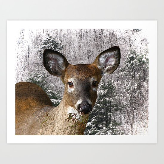 Deer and Frosty Hills Art Print
