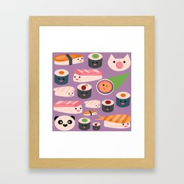 Kawaii sushi purple Framed Art Print
