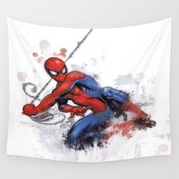 spider man Wall Tapestries featuring Spider-Man  by Isaak_Rodriguez
