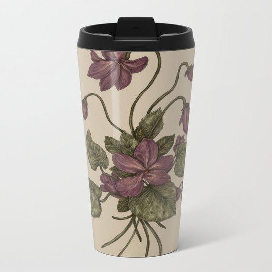 Violets Metal Travel Mug