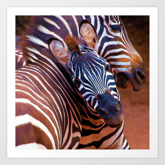 Two Zebras Playing With Each Other Art Print