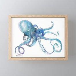 Octopus, turquoise blue, sky blue underwater scene sea world octopus art Framed Mini Art Print