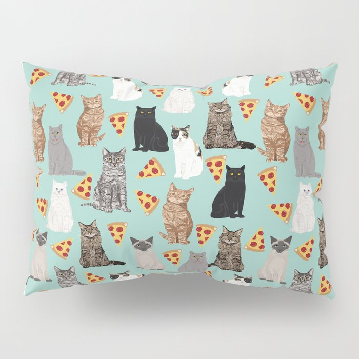 Cats with Pizza slices cheesy food funny cat lover gifts by pet friendly pet portraits Pillow Sham