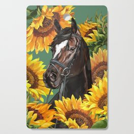 Horse with Sunflowers Cutting Board