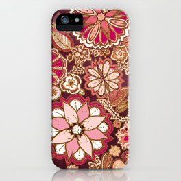 Golden Embroidery Flowers iPhone Case