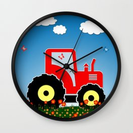 Red tractor in a field Wall Clock