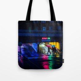 Neon Umbrellas Tote Bag