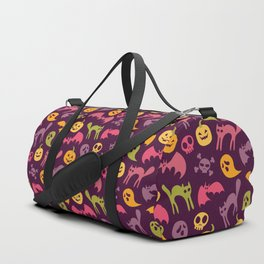 Neon Halloween Pattern - Purple Background Duffle Bag