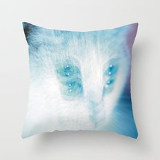 White Cat Throw Pillow