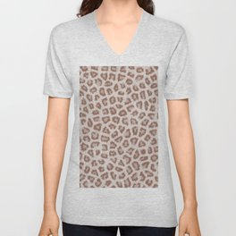 Abstract hipster brown white cheetah animal print Unisex V-Neck