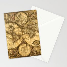 Antique World Map Stationery Cards