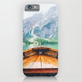 Boat in the lake watercolor painting  iPhone Case