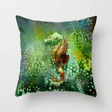 Seahorse Tropical Ocean Life Throw Pillow